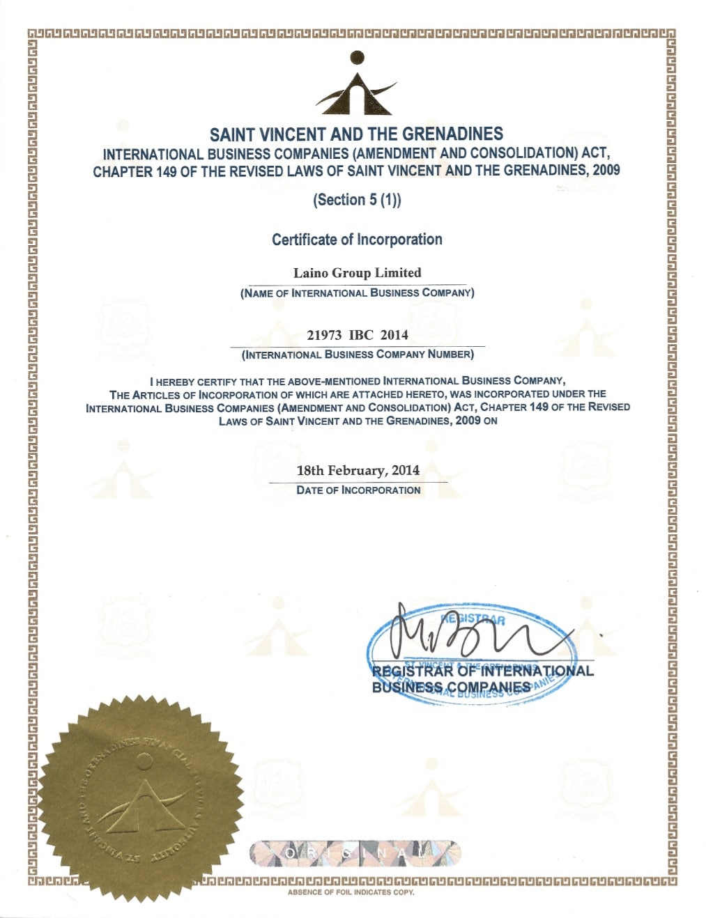 Laino Group Ltd SVGFSA certificate of incorporation