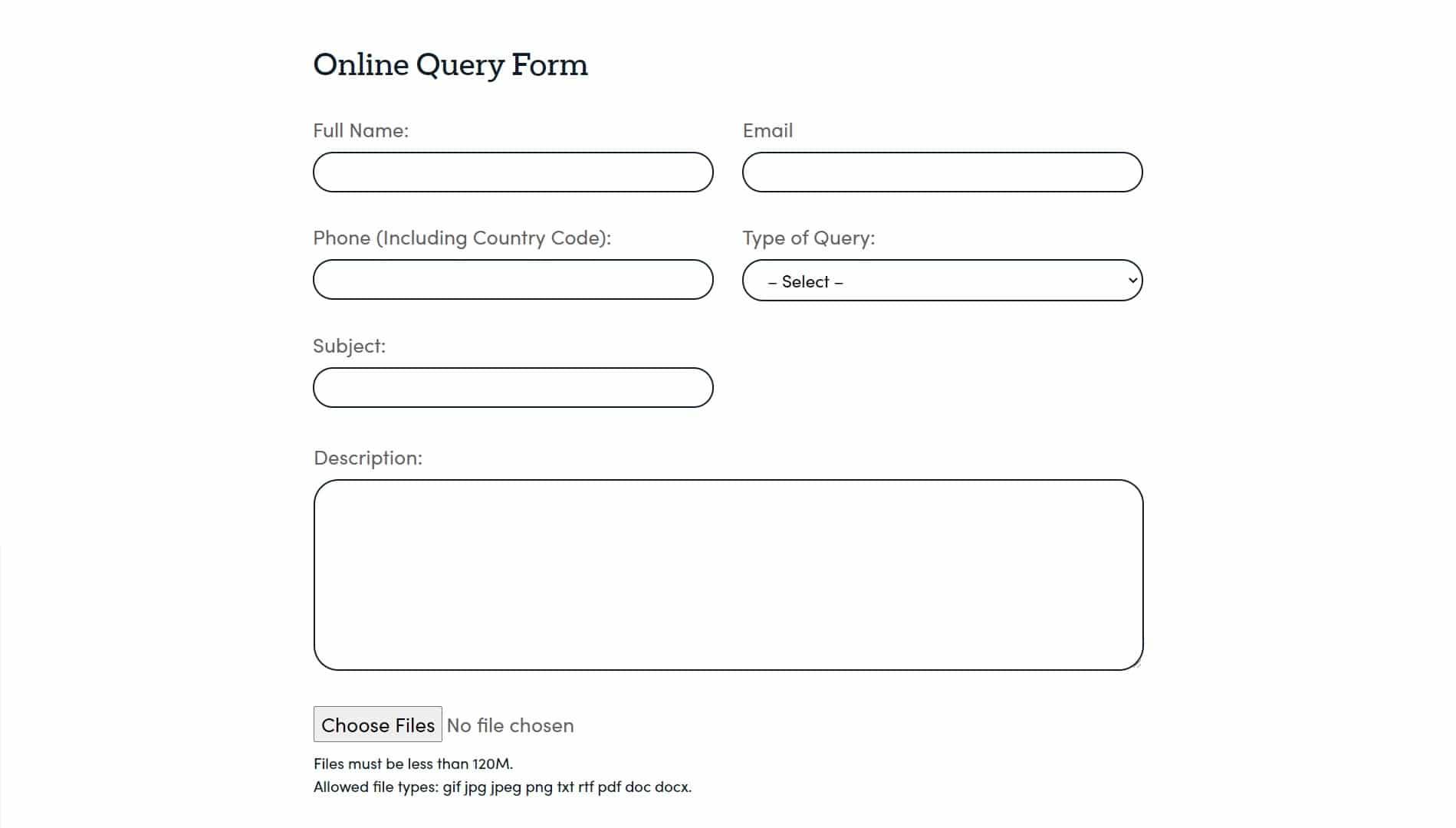 Markets.com online query form