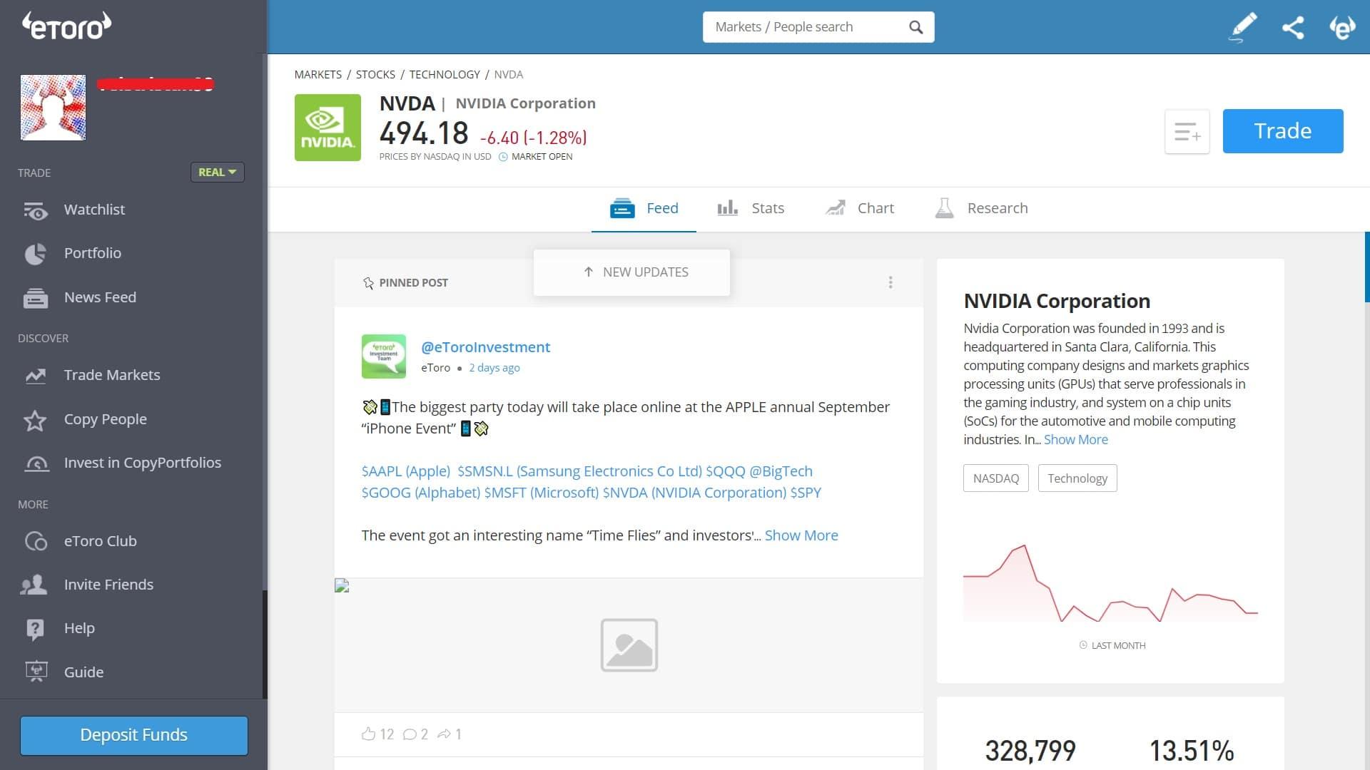 NVIDIA stock trading on eToro's platform