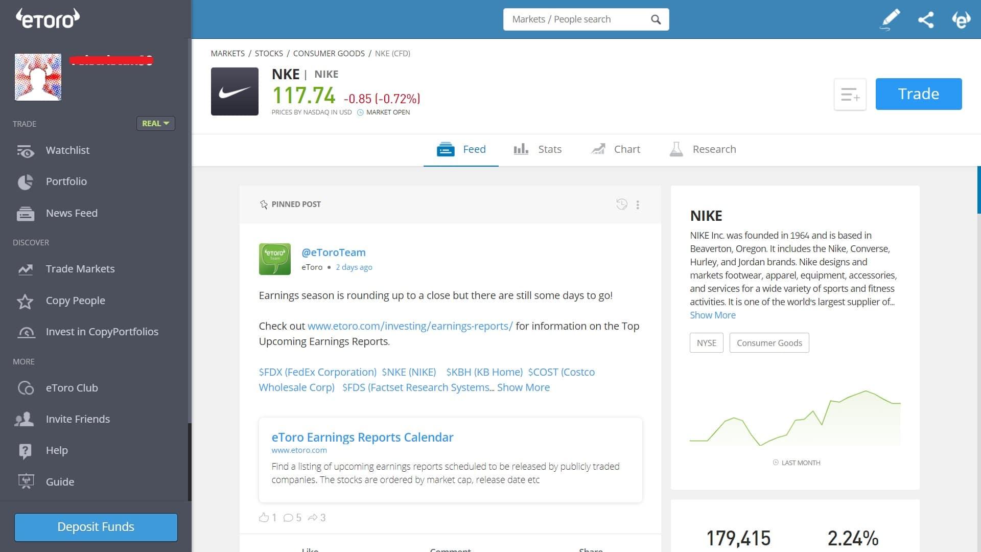 Nike stock trading on eToro's platform