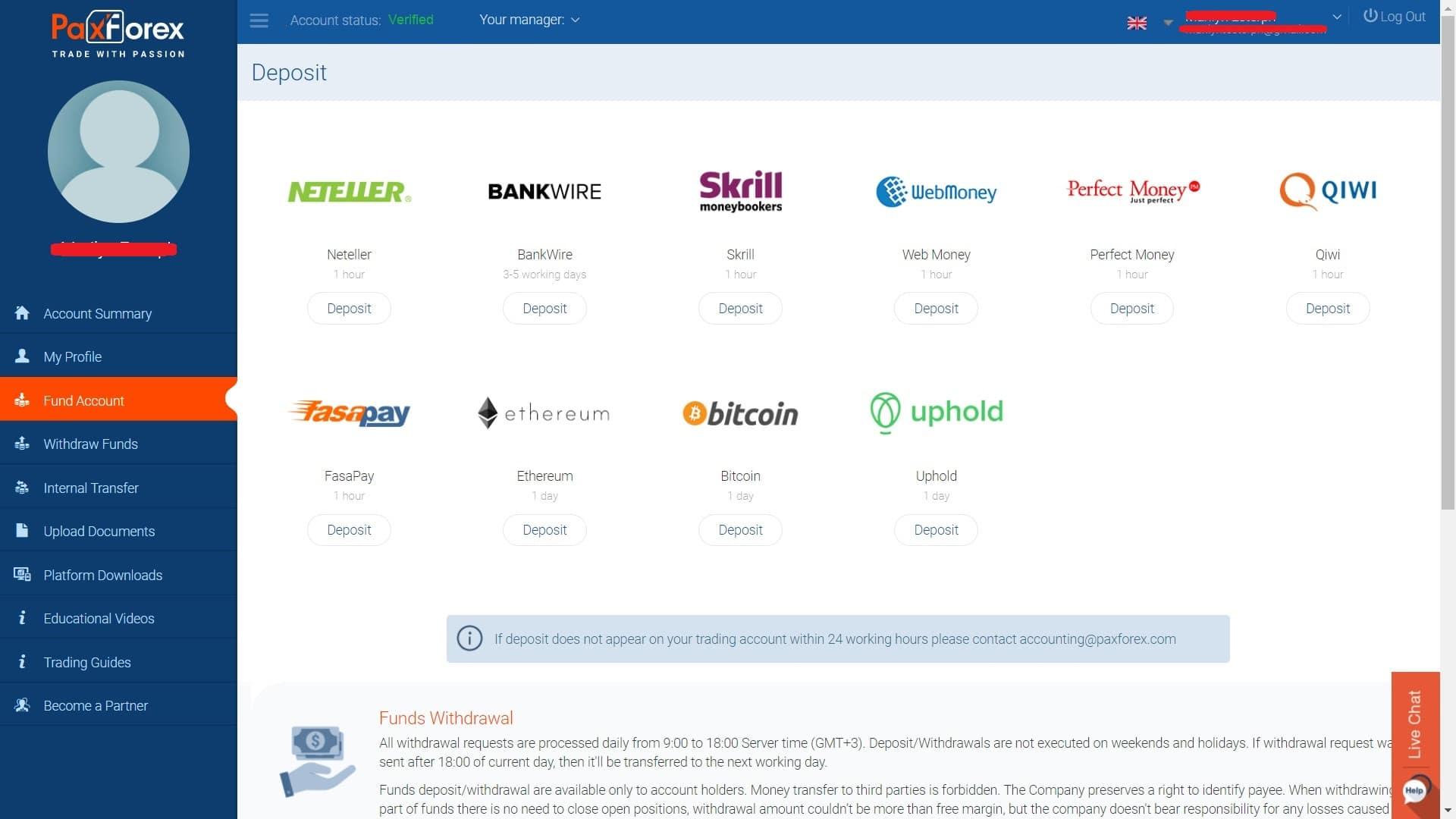 PaxForex deposit page