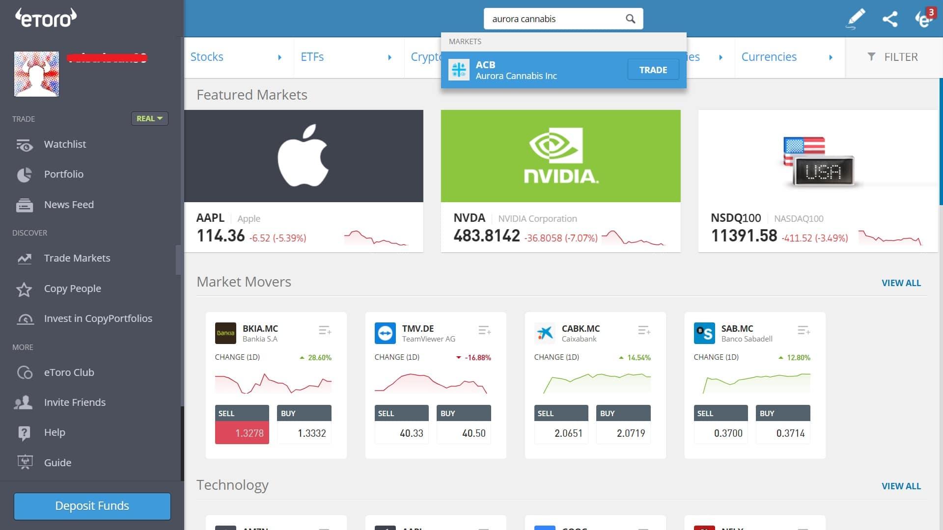 Searching for Aurora Cannabis stock on eToro's platform