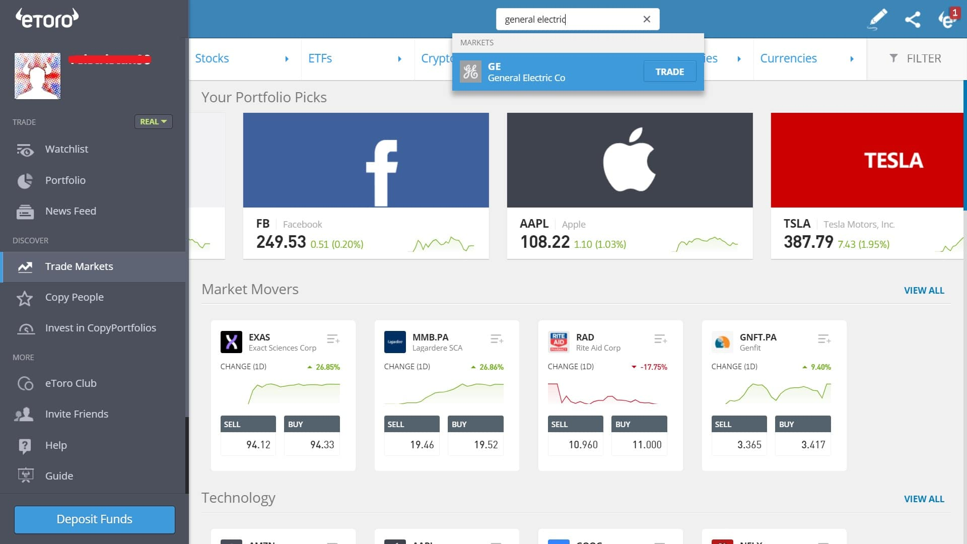 Searching for GE stock on eToro's platform