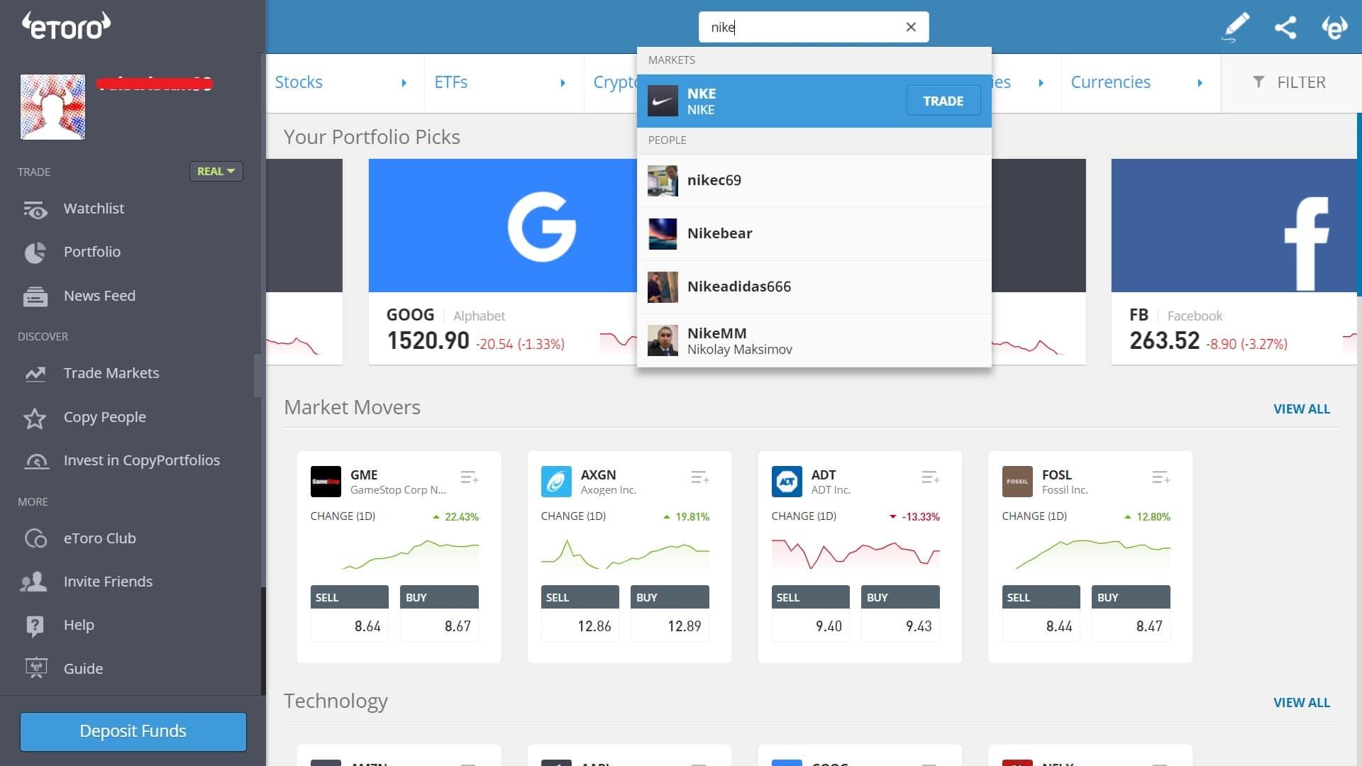 Searching for Nike stock on eToro's platform