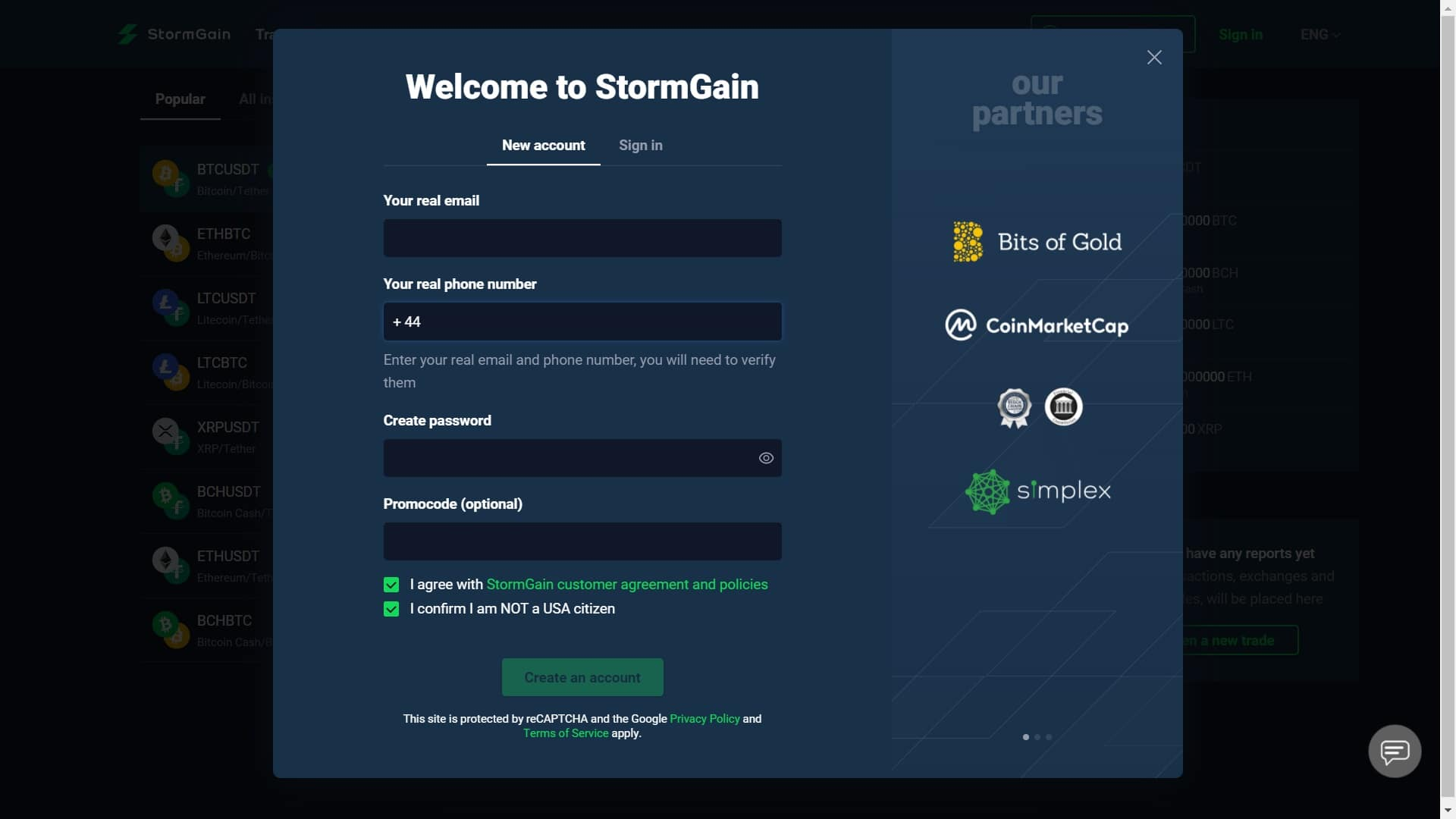StormGain registration page