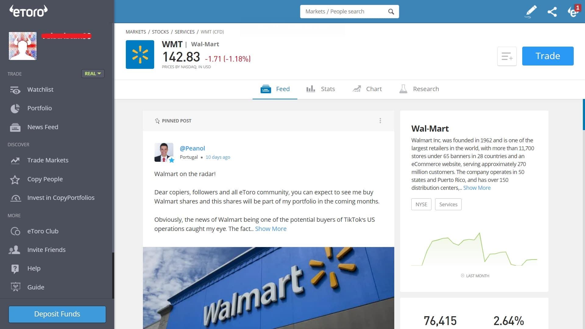 Walmart stock trading on eToro's platform