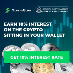 Storm Gain earn 10% on crypto banner