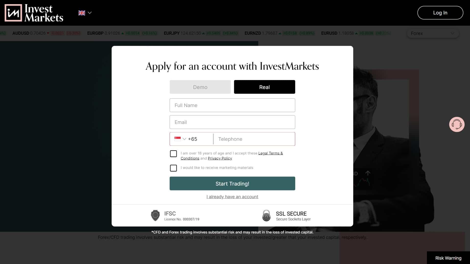InvestMarkets registration page