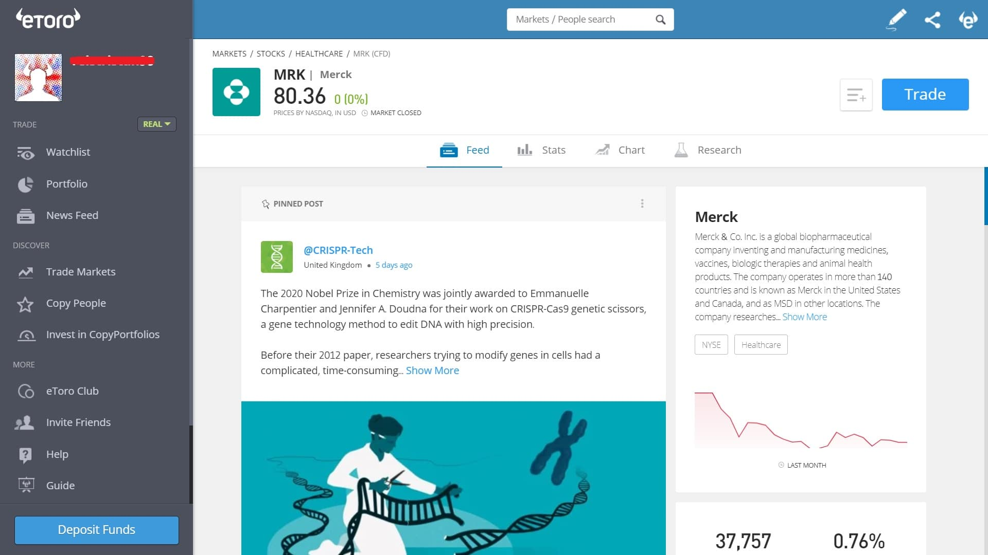 Merck stock trading on eToro's platform