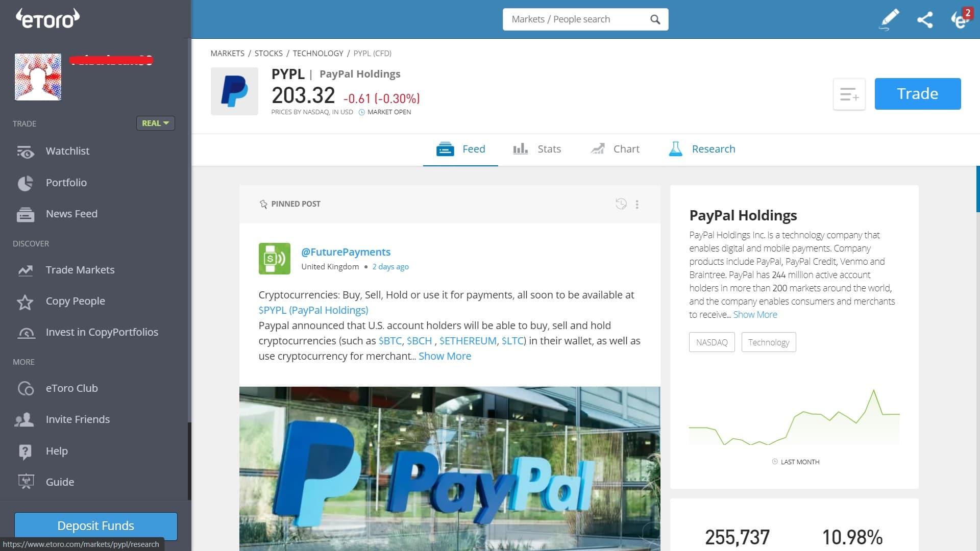 PayPal stock trading on eToro's platform