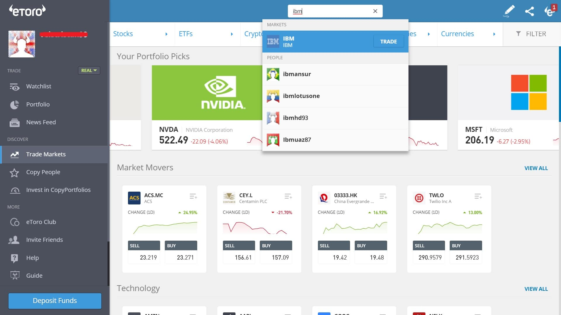 Searching for IBM stock on eToro's platform