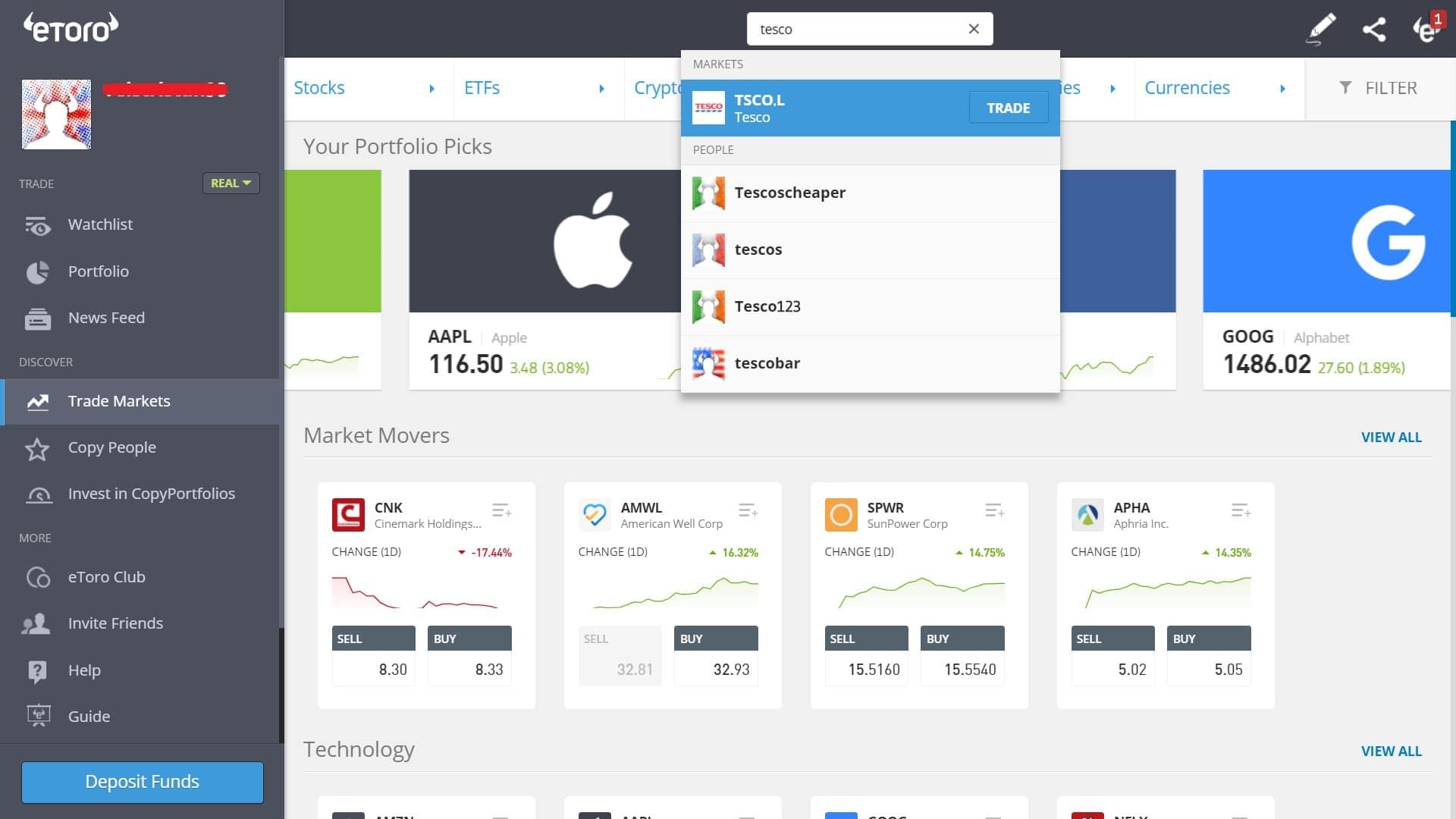 Searching for Tesco stock on eToro's platform