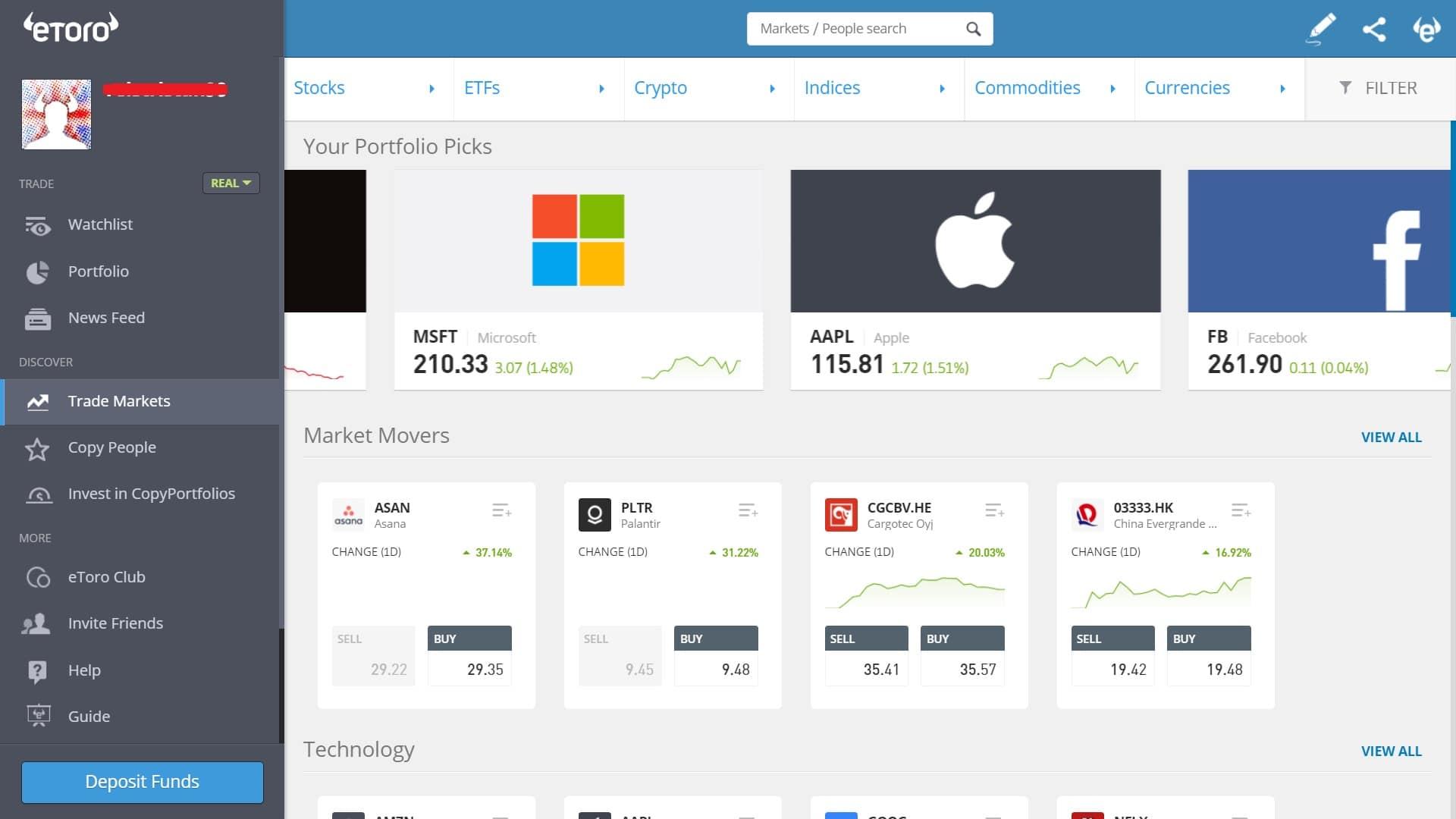 Stock trading on eToro's platform