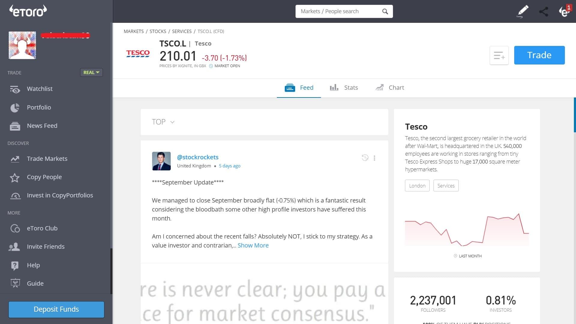 Tesco stock trading on eToro's platform