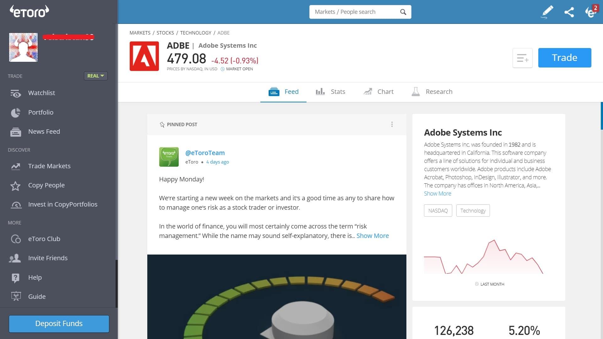 Adobe stock trading on eToro's platform