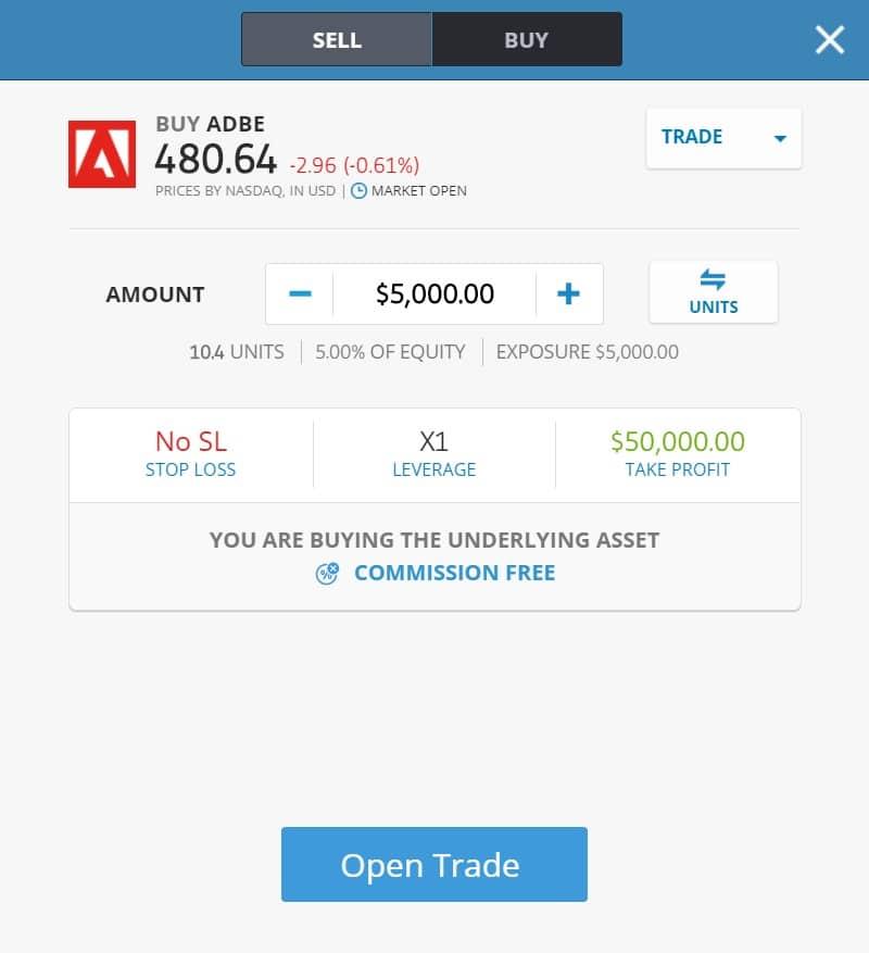 Buying Adobe stocks on eToro's platform