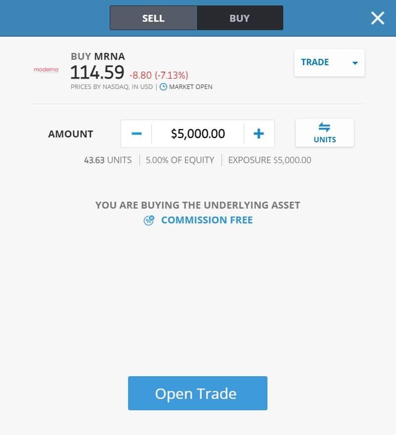 Buying Moderna stocks on eToro's platform