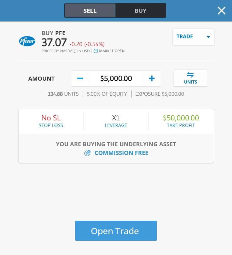 Buying Pfizer stocks on eToro's platform