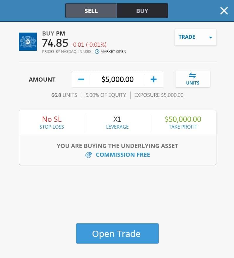 Buying Philip Morris stocks on eToro's platform