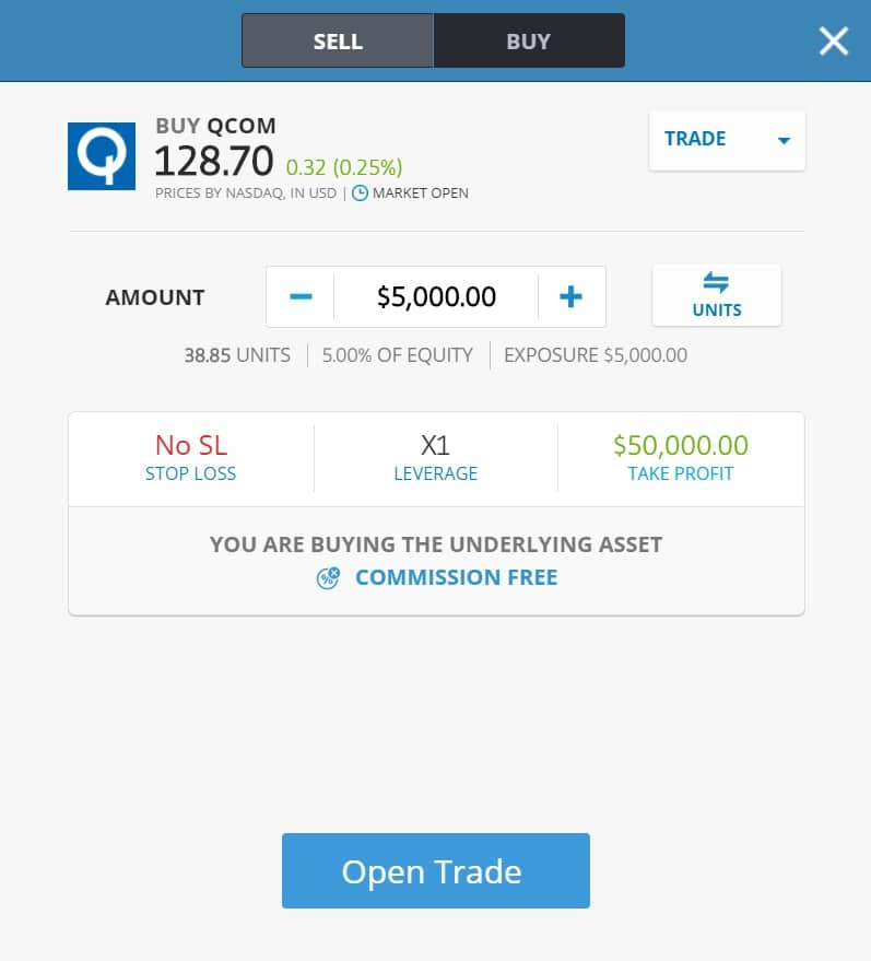 Buying Qualcomm stocks on eToro's platform