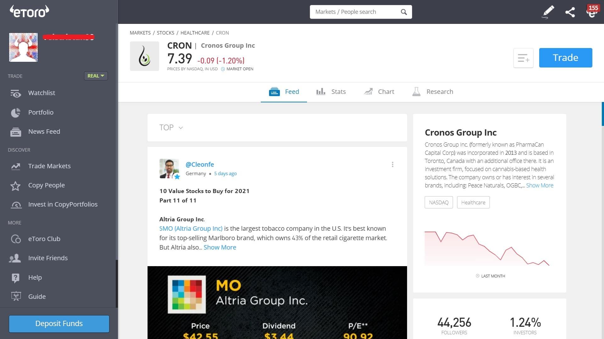 Cronos stock trading on eToro's platform