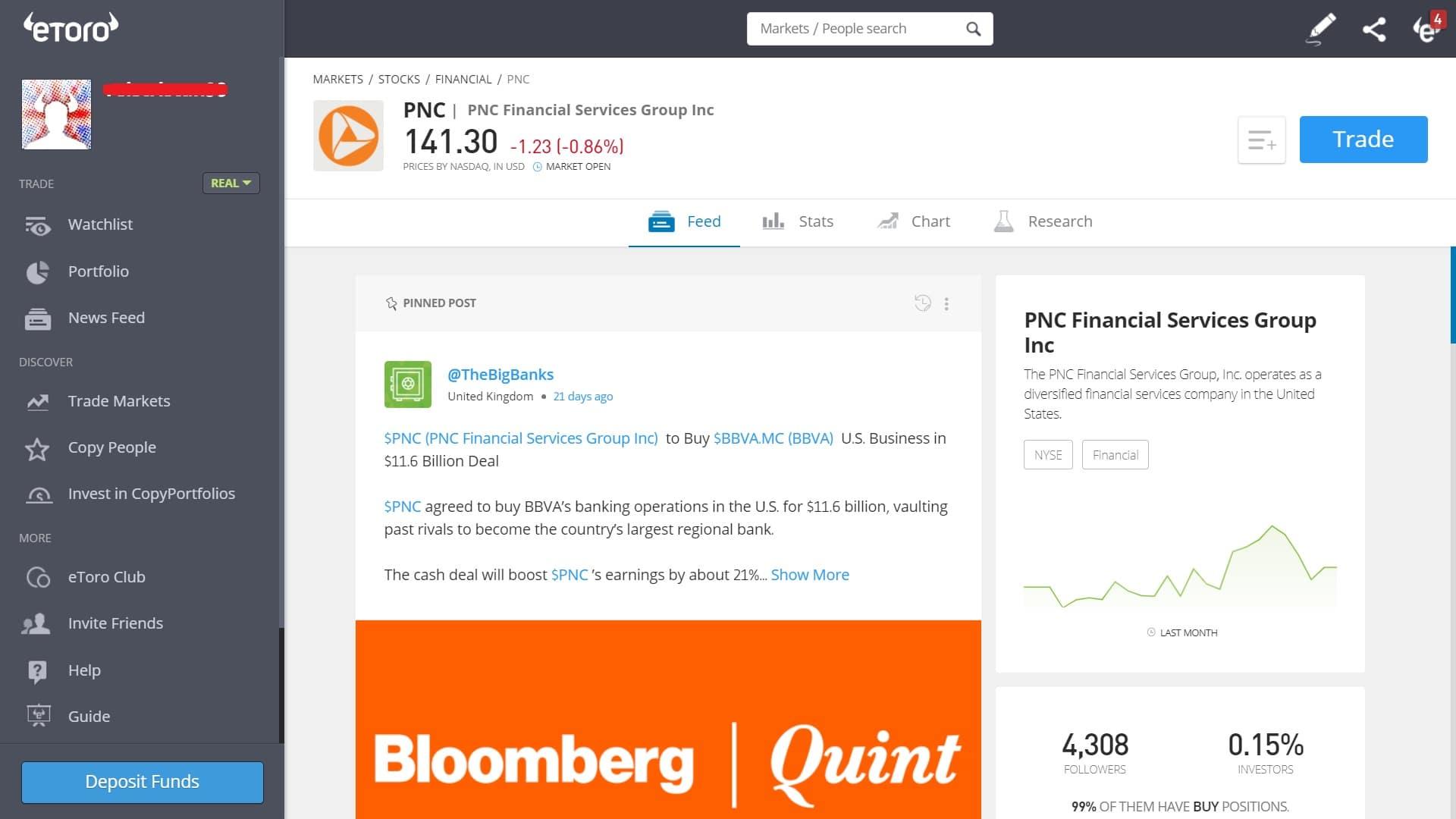 PNC Financial stock trading on eToro's platform