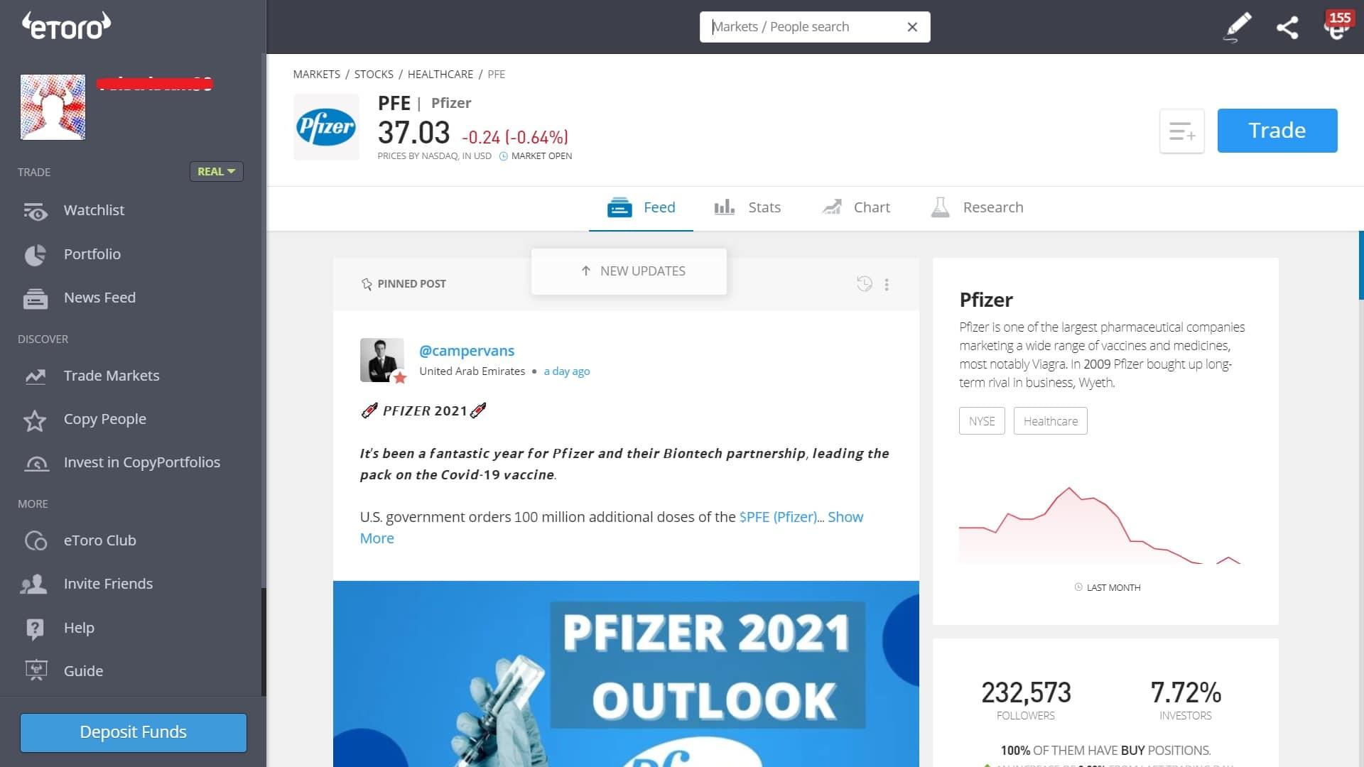 Pfizer stock trading on eToro's platform