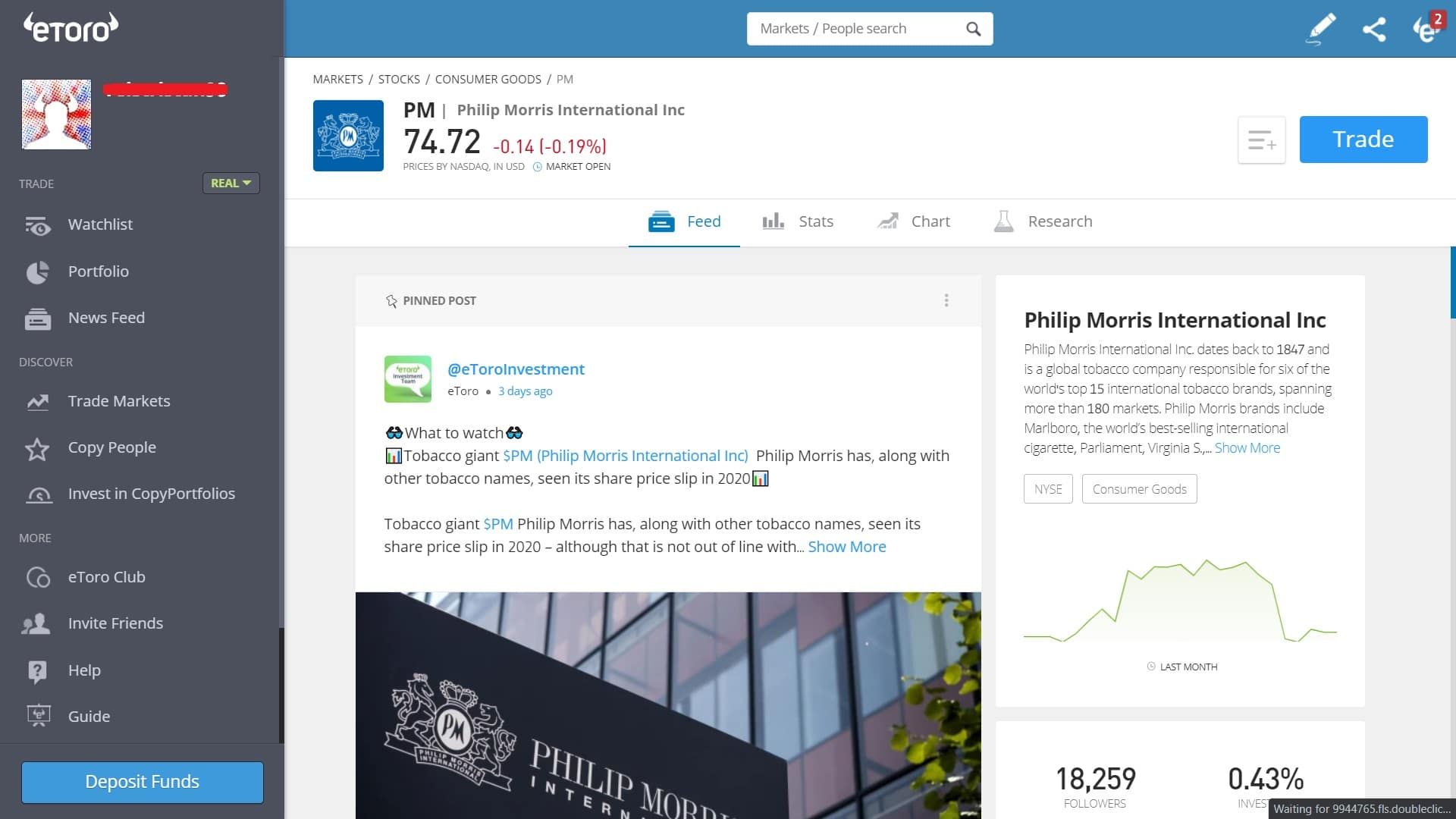Philip Morris stock trading on eToro's platform