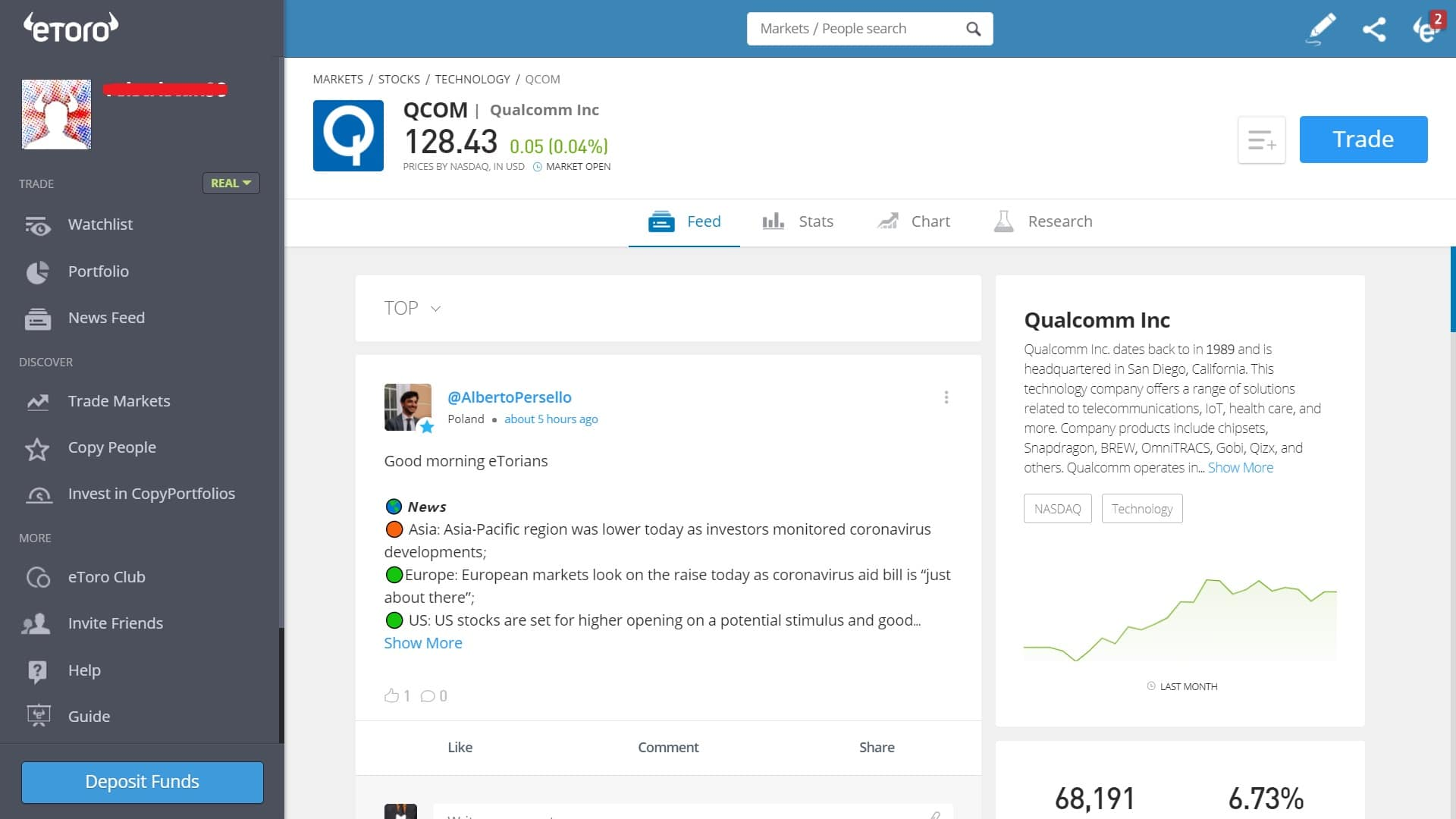 Qualcomm stock trading on eToro's platform