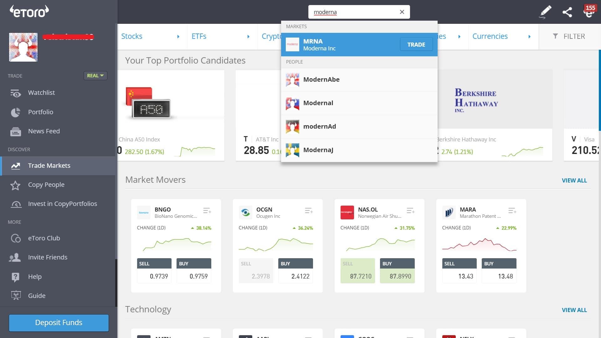 Searching for Moderna stock on eToro's platform