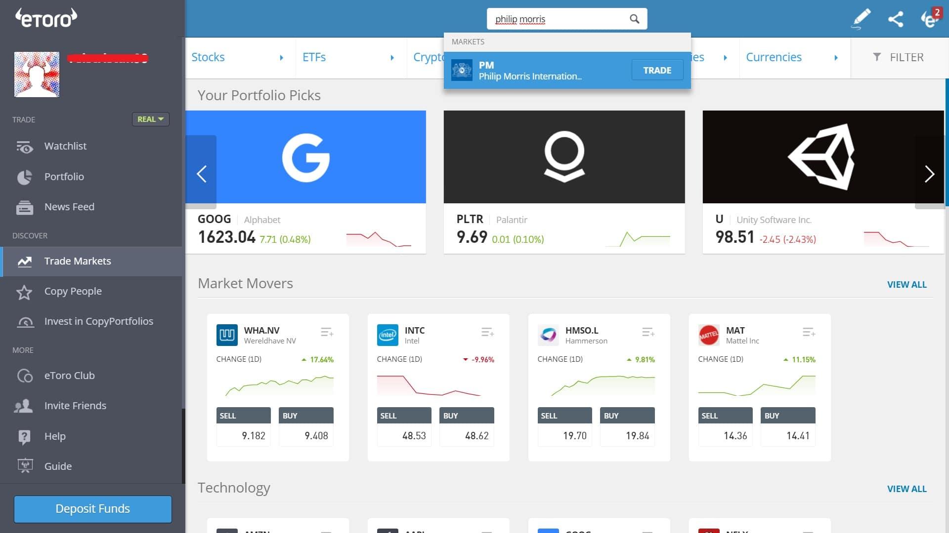 Searching for Philip Morris stock on eToro's platform